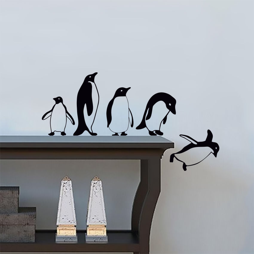 penguins jumping flying funny vinyl wall sticker decor decal mural
