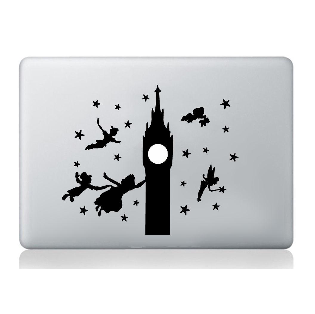 Peter Pan Big Ben Sticker Silhouette Macbook Laptop Decal Vinyl Skin ...