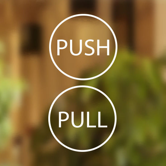Pull Push Door Stickers Circle Pull And Push Stickers Pull Push