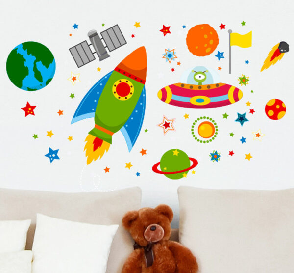 Rocket-Space-Ship-Outta-Space-UFO-planets-Learning-Wall-Stickers-Kids-Decals-Car-263279852316