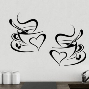 2-Coffee-Cups-Kitchen-Wall-Tea-Sticker-Vinyl-Decal-Art-Restaurant-Pub-Decor-Love-252251870297