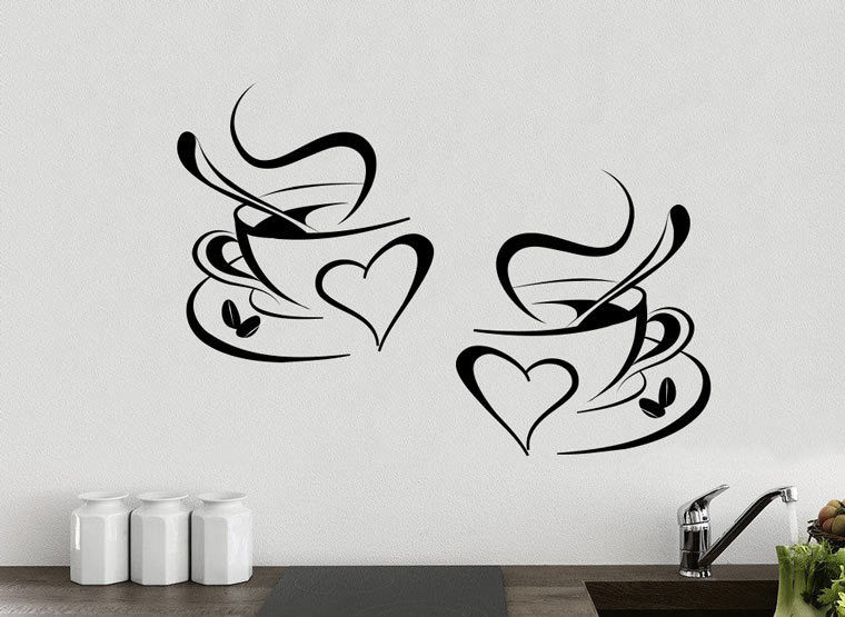 2 coffee cups kitchen wall tea sticker vinyl decal art restaurant
