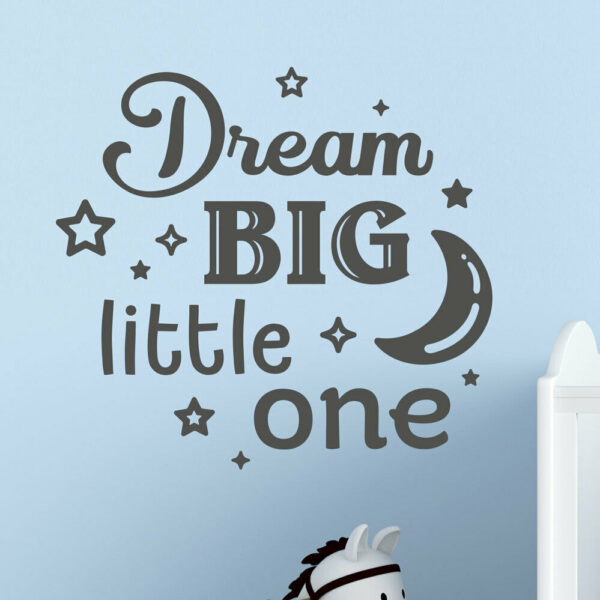 Dream-big-little-one-nursery-wall-decal-vinyl-sticker-mural-kids-room-children-264203348847