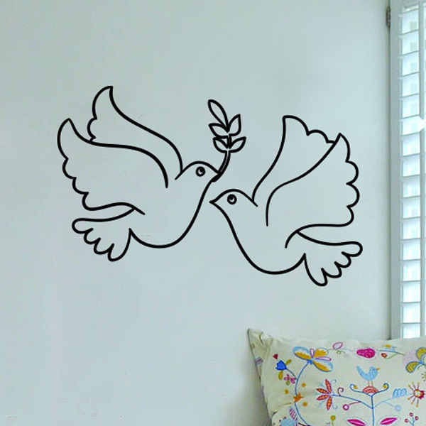 Peace birds wall vinyl sticker decal livingroom children