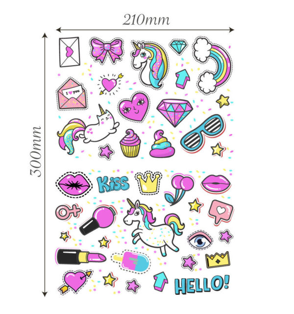 Unicorn-stickers-girls-kids-laptop-children-Scrapbook-diary-album-decals-nursery-253211458067