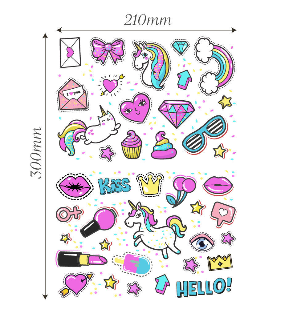 Unicorn Stickers Girls Kids Laptop Children Scrapbook