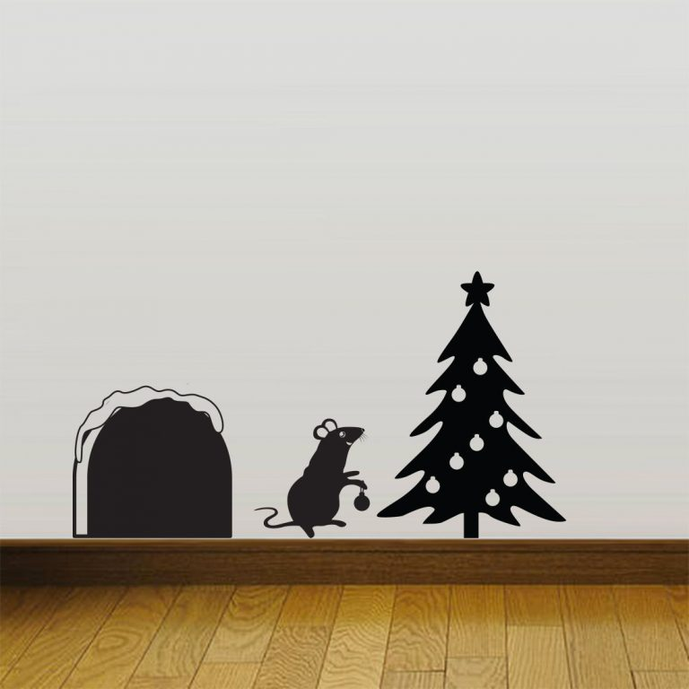 Mouse-hole-Christmas-Party-MIce-Vinyl-Wall-Sticker-Decor-Decal-Mural-KItchen-Pet-252617341188
