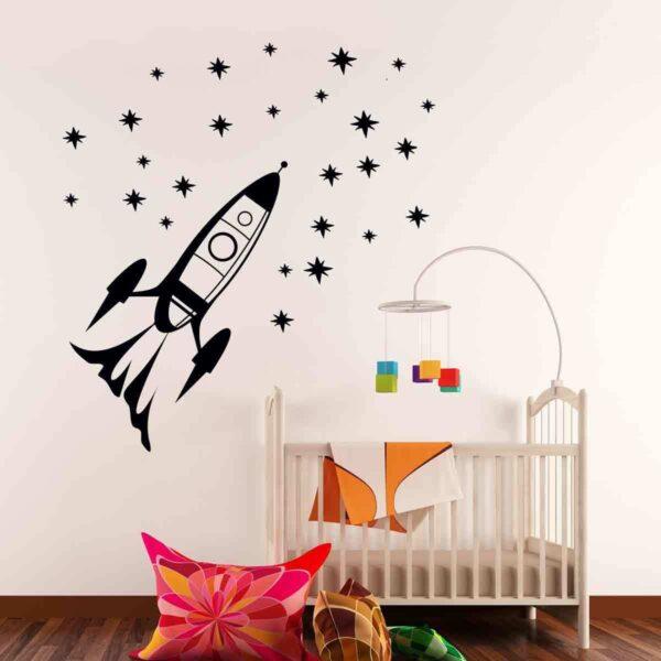 Rocket-Outer-Space-Ship-Vinyl-Wall-Sticker-Decor-Decal-Mural-Kids-Children-room-263073165418