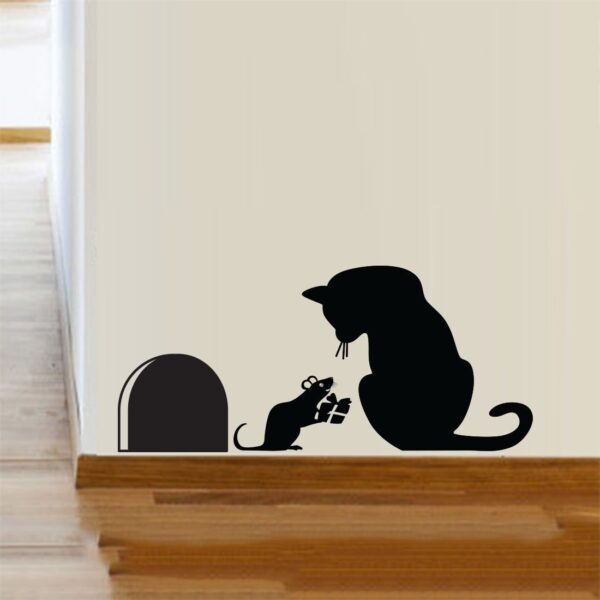 Cat-Mouse-hole-Christmas-Party-Vinyl-Wall-Sticker-Decor-Decal-Mural-KItchen-Pets-262702164349