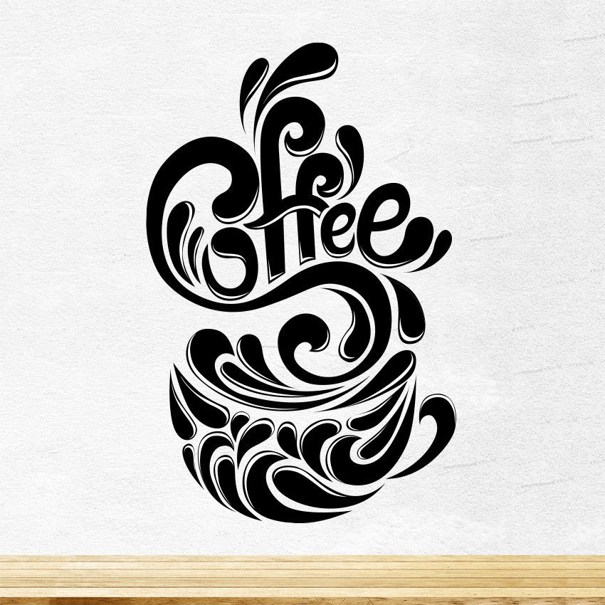 Coffee Cup Splash Kitchen Wall Tea Sticker Vinyl Decal Art