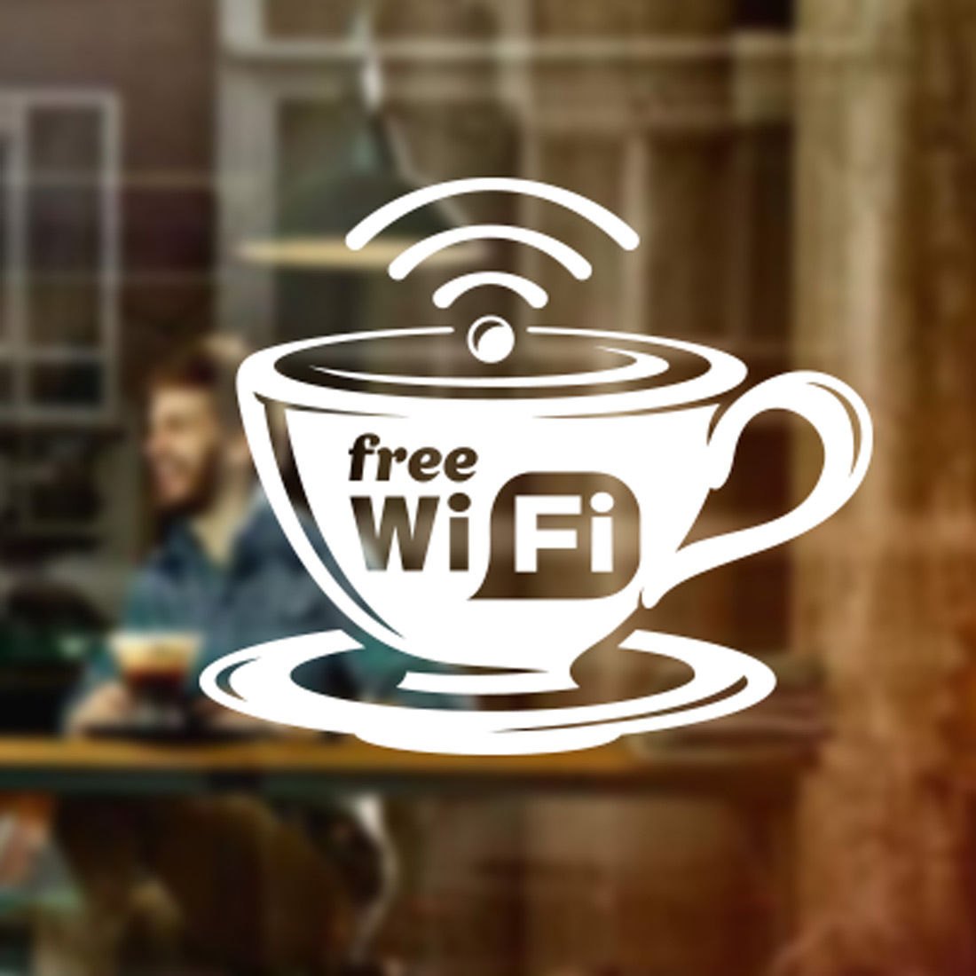 Free Wifi Cup Window Sign Vinyl Sticker Graphics Cafe Shop