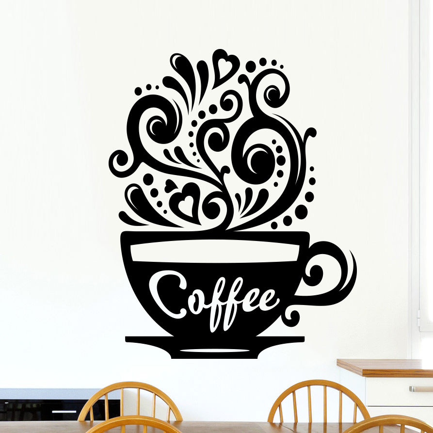 Love Coffee Cups Kitchen Wall Tea Sticker Vinyl Decal Art