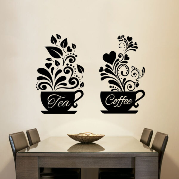 Tea-Coffee-Cups-Kitchen-Wall-Tea-Sticker-Vinyl-Decal-Art-Restaurant-Decor-263098693889