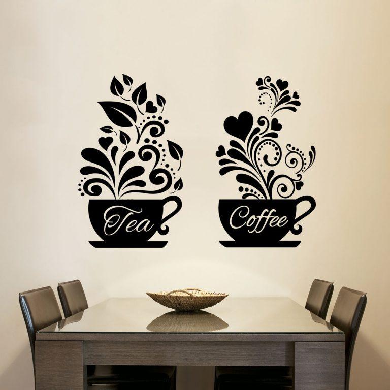 Tea + Coffee Cups Kitchen Wall Tea Sticker Vinyl Decal Art ...